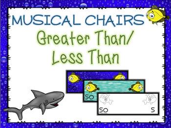 Shark Greater Than Less Than Math Musical Chairs Game