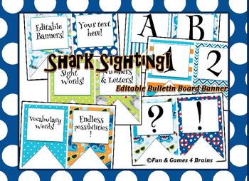 Shark / Oceans themed EDITABLE bulletin board banner