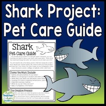 Shark Project: Shark Pet Care Guide: Perfect Activity for Shark Week!