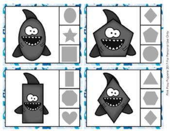 Shark Shapes Clip Cards