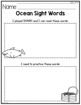 Sight Words Game: Shark! Bang! Game