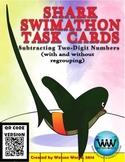 Shark Swimathon Task Cards: Subtracting Two-Digit Numbers ~ QR Code Version