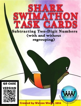 Shark Swimathon Task Cards: Subtracting Two-Digit Numbers ~ QR Code Version