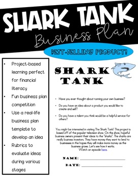 Shark Tank Business Plan Project for Fundraiser or Classro
