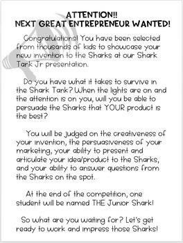 Shark Tank Junior With Editable Google Doc for Students