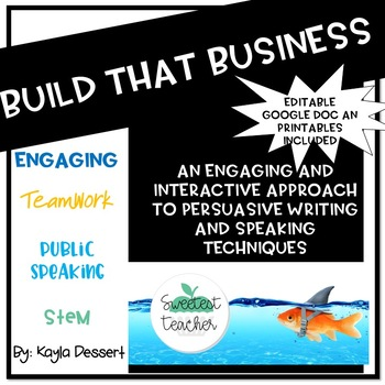 Shark Tank Junior With Editable Google Doc for Students