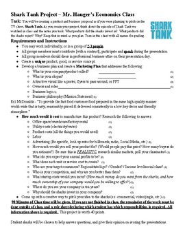 Shark Tank Presentation Rubric and Product Creation Guide Economics Project
