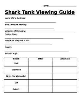 Shark Tank Viewing Guide (Percents Activity)