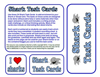 Sharks Task Cards: 24 cards with fun facts and related activities!
