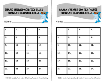 Shark Task Cards {Context Clues}