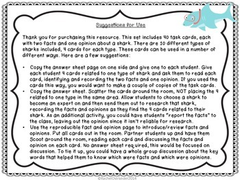 Sharks! Two Facts and One Opinion Task Cards