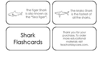 Shark Types Picture Word Flash Cards. Preschool flash cards for children.