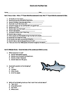 Shark Unit Pre/post Test
