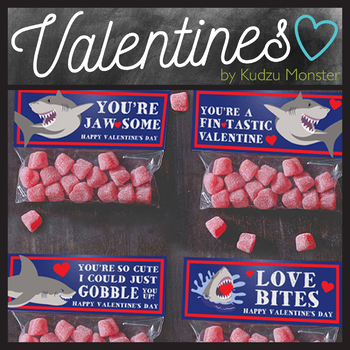 Shark Valentine Treat Topper 4 Pack
