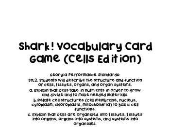 Shark! Vocabulary Card Review Game (Cells Edition)