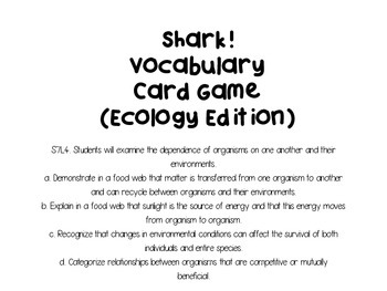 Shark! Vocabulary Card Review Game (Ecology Edition)