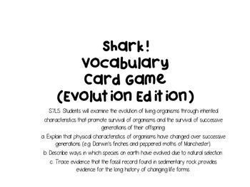 Shark! Vocabulary Card Review Game (Evolution Edition)