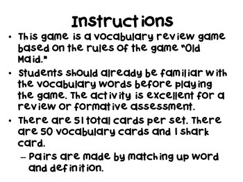 Shark! Vocabulary Card Review Game Life Science Bundle Set (7 Sets)