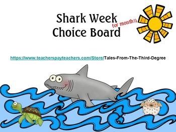 Shark Week Reading and Writing Response Choice Board