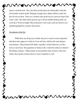 Shark Reading Comprehension Non-Fiction