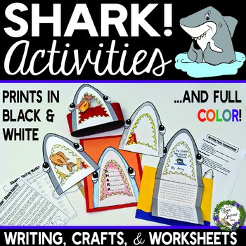 Shark Writing Crafts and Worksheet Perfect for Summer Science or End of Year Fun