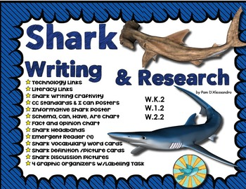 Sharks Writing & Research Unit & Craftivity - Headbands- Emergent Readers + More