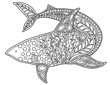 Shark Zentangle Coloring Page