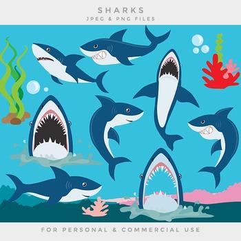 Shark clipart clip art sea seaweed coral sea life ocean sharks fish
