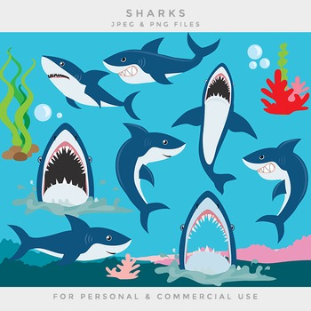 Shark clipart clip art sea seaweed coral sea life ocean sh