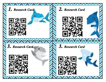 Shark task cards with QR codes can be used with MTH Shadow of the Shark