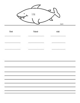 shark writing template