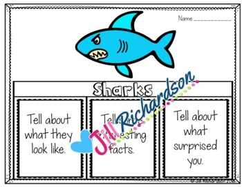 Ocean Animals - Sharks Writing Flap Books!