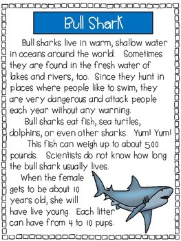 Sharks - A First Grade Literacy Center