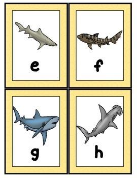 Sharks Alphabet Scavenger Hunt: Upper and Lowercase Letters, Center & Printables