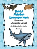 Sharks Alphabet Scavenger Hunt: Upper and Lowercase Letters, Center & Printables