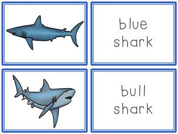 Shark Activities Book to Cut and Create, Matching Cards for Centers, and Posters