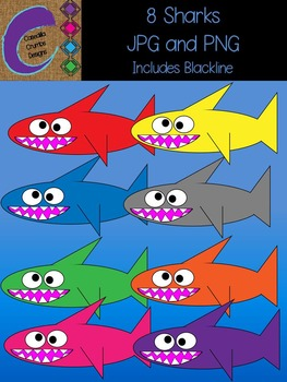 Sharks Clip Art Graphics Set with 6 different colors includes blacklines