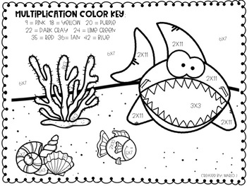 Sharks Color-By-Number Mixed Multiplication
