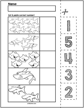 Sharks Cut & Match Worksheets | Numbers 1-5
