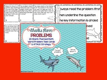 Sharks Have Problems - Shark Themed Word Problem Task Cards