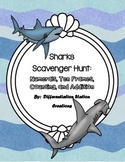 Sharks Math Scavenger Hunt:  Numerals, Ten Frames, Counting and Cardinality
