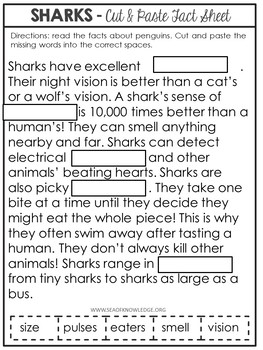Sharks Nonfiction Facts Cut and Paste Worksheet