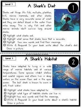 Sharks Nonfiction Reading Passages