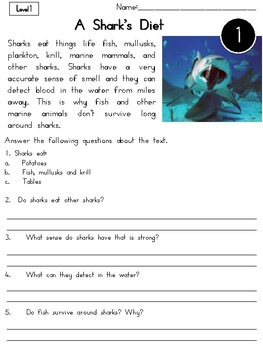 Sharks Nonfiction Reading Passages