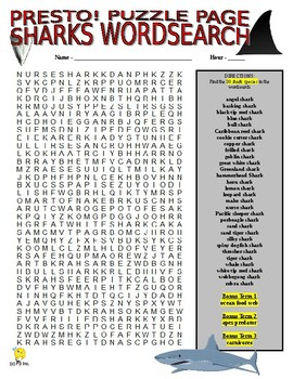 Sharks Puzzle Page (Wordsearch and Criss-Cross)