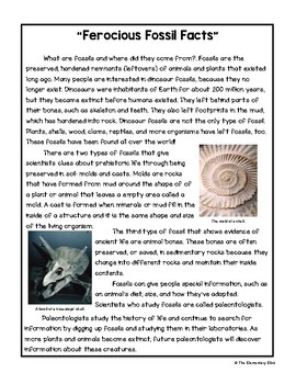 Fossil Facts Close Reading Passage