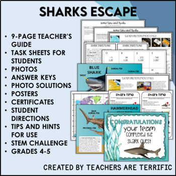 Sharks Reading and Escape Room Bundle
