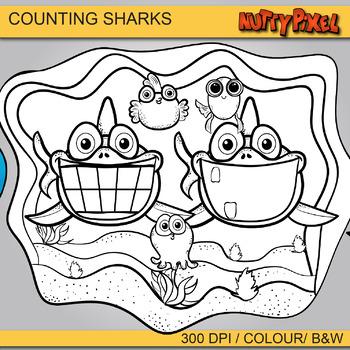 Sharks-Ten Frame Counting Clip art