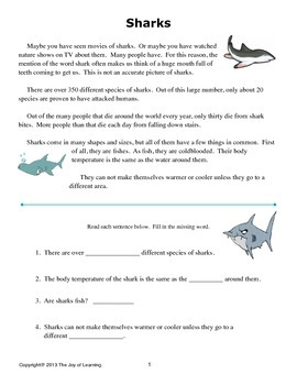 Sharks Thematic Unit