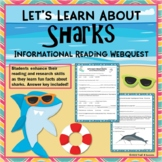 Sharks Webquest - Fun Informational Reading Research Activity Worksheets